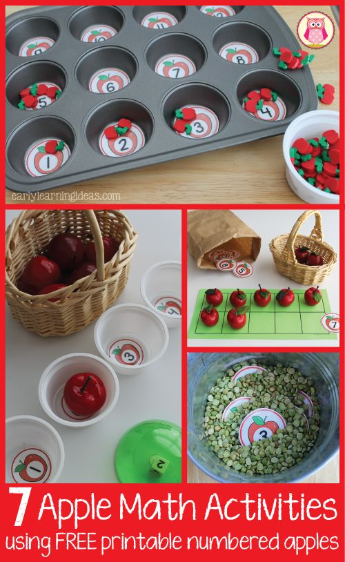 Apple Math Activities for Kids: 7 Math Activities with Numbered Apples [Free Printable]  Great additions for your early childhood, preschool, or pre-k apple unit.
