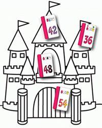 Tafel paleis met Joepkaarten - Hang de Joepkaartjes door je hele huis op zichtbare plekken op. Je kunt nu verschillende routes door je huis lopen. De eerste week loop je bijvoorbeeld dagelijks een route door het huis langs de kaartjes van de tafels van zes. Elke som krijgt daarmee een vaste plek in je geheugen. De 12 hangt op de wc, de 18 op de voordeur, de 24 op de..