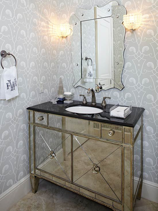 Best mirrored vanity ideas on pinterest for Diy mirrored kitchen cabinets