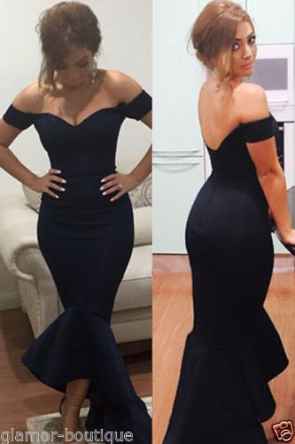 NEW-SEXY-OFF-SHOULDER-NAVY-MERMAID-PEPLUM-FISHTAIL-MIDI-DRESS-SIZES-8-10-12-14
