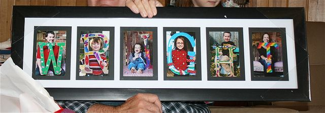 """Our family name. I purchased extra large cardboard letters from Joann's last year and had the kids (and my husband and I) paint them. Then I snapped photos of each of us holding our respective letter and put them in a frame to give to Grandma and Grandpa Wright at Christmas."""