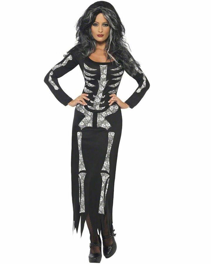 CL546 Ladies Skeleton Skull Scary Zombie Halloween Fancy Dress Up Horror Costume