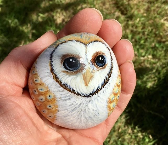 Barn owl hand painted pebble rock art garden bird