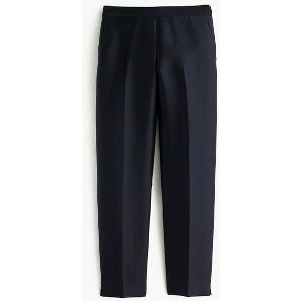 J.Crew Collection Cigarette Pant (1.030 RON) ❤ liked on Polyvore featuring pants, capris, slim trousers, cigarette pants, wet look pants, j crew pants and side zip pants