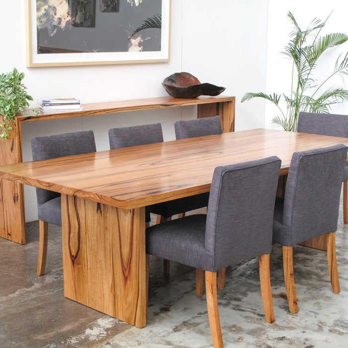 YARD FURNITURE Full dining set, made from fully recycled feature grade Yellow Stringy Bark locally sourced in Melbourne from the Windsor Smith timber range. For our clients we produced an 8-10 seater dining table, 8 upholstered dining chairs and a wall table.