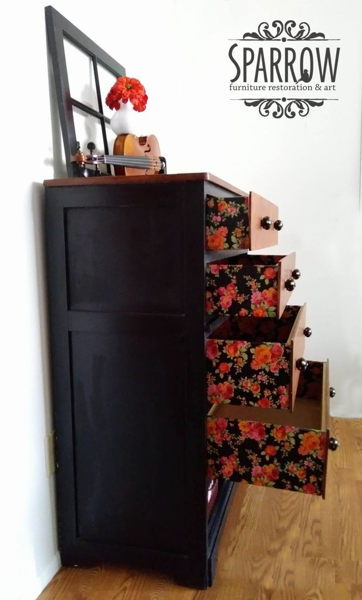 From Crappy to happy! This dresser was Crazy colors. Now it had been painted black and decoupaged with flower tissue paper and has new black and gold drawer pulls! This piece is for sale!  Dresser, Decoupage, DIY, Chalk Paint, Black and Brown, Staging, Violin, polka dots, Flowers https://www.facebook.com/SparrowFurnitureRestoration/