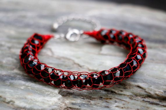 Onyx & Scarlet French Knit Wire Bracelet by nZuriArtDesigns