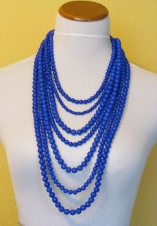 Blue Bead Necklace: Long Beads, Blue Long, Bead Necklaces