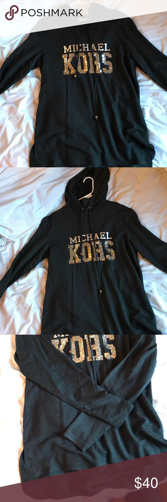 Michael Kors shirt hoodie Michael Kors shirt hoodie new I only wore it once for a couple hours, no pilling, very soft. Bought at Nordstrom rack. Says Michael Kors in sequins Michael Kors Tops Tees - Long Sleeve