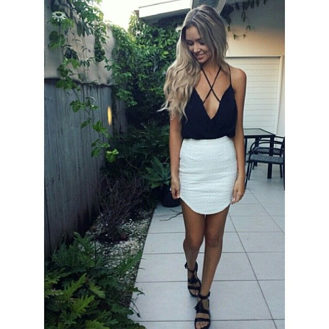 White skirts and black top