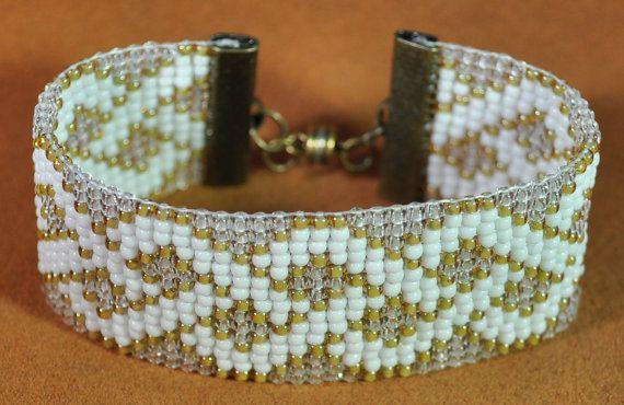 Loom beaded bracelet 11/0 glass seed beads by beadingrays on Etsy
