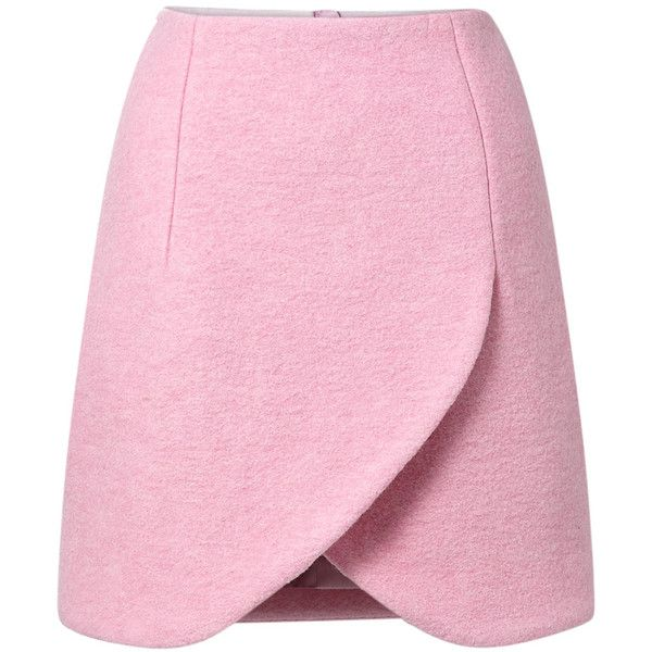 Carven Petal Hem Crushed Wool Mini Skirt found on Polyvore