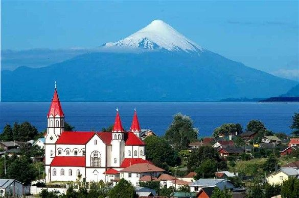 Puerto Varas, Chile - A lovely, peaceful, lakeside community deep in the heart of the Lake District of Patagonia and one of the most picturesque towns in South America. Puerto Varas's backdrop is the Osorno Volcano, an almost perfectly conical, snow-capped active volcano. The town is also known as The City of Roses.