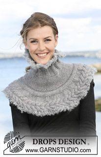 Tour du cou / col en point irlandais en 'Alaska', bordures au crochet en 'Puddel' ~ DROPS Design