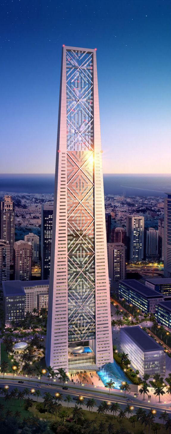 Lighthouse Tower, Dubai, UAE designed by Atkins Architects :: 64 floors, height 402m :: on hold