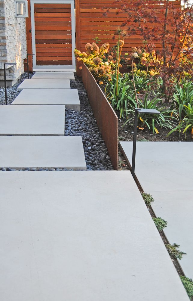 Botanica Design   Our Work modern concrete path, corten steel and custom cedar fence