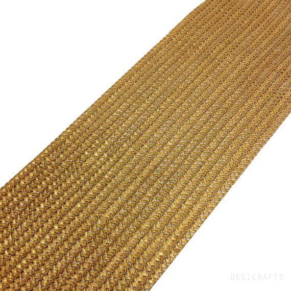 Or mat Crochet tissage Gota Extra large - Sari frontière - ruban Gota pour robes de mariage Lehenga - soie