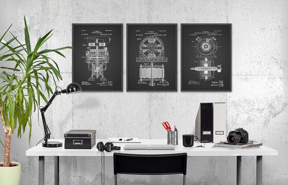Tesla Patent Prints Set Of 3 - Nikola Tesla Engineering Invention Patent - Tesla Electric Motor - Science Student Gift Idea  This Tesla patent poster set is printed using high quality archival inks on archival paper with a smooth matte finish. A fantastic gift or a fabulous addition to your home!  This set contains... Electromagnetic Motor Patent Electric Generator Patent Alternating Electric Current Generator Patent  Please choose between different colors and sizes…