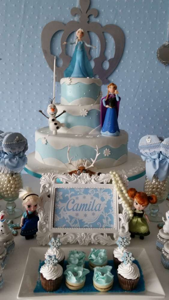 Pretty cake at a Frozen birthday party! See more party ideas at CatchMyParty.com!