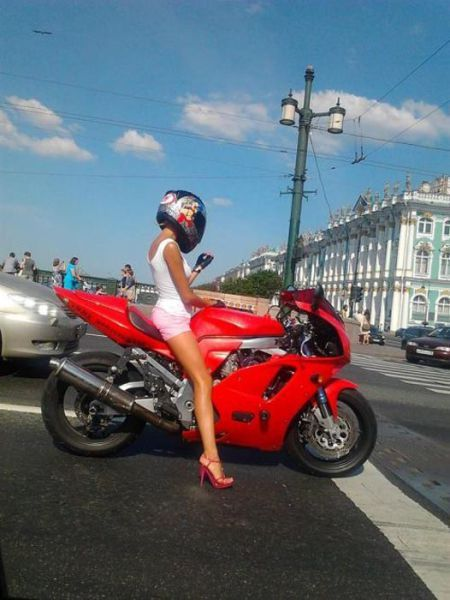 Good thing she is wearing a helmet.