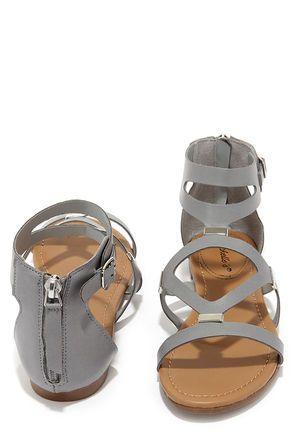 Cute Gladiator Sandals - Grey Sandals - Flat Sandals - $22.00