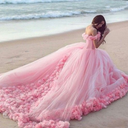 New Prom Dress,Sexy Prom Dress,Long Prom Dresses,Ball Gown Long Train Evening Dress,Pink Off the shoulder Wedding Dresses