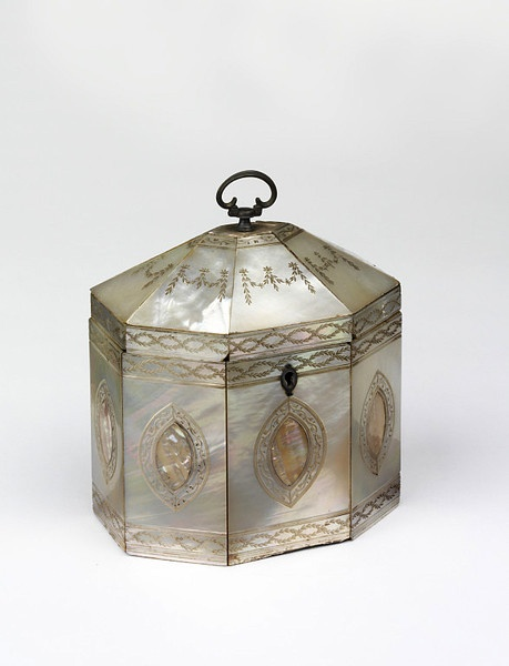 beautiful mother of pearl tea caddy