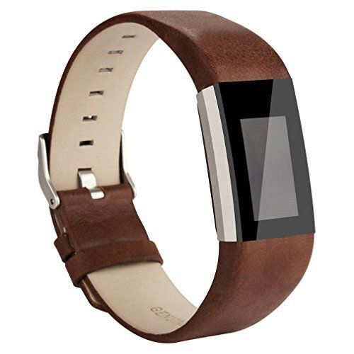 AK Fitbit Charge 2 Leather Band Replacement Luxury Genuine Leather Band Strap for Fitbit Charge 2 Coffee Brown <3 View the item in details by clicking the image