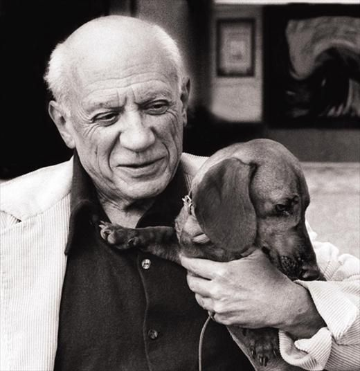 Picasso and Lump, his favorite dog.