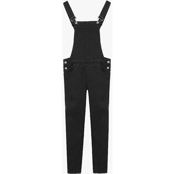 Skinny Denim Black Overall (£77) ❤ liked on Polyvore featuring jumpsuits, black, skinny fit jeans, skinny denim overalls, cotton overalls, cut skinny jeans and skinny jeans overalls