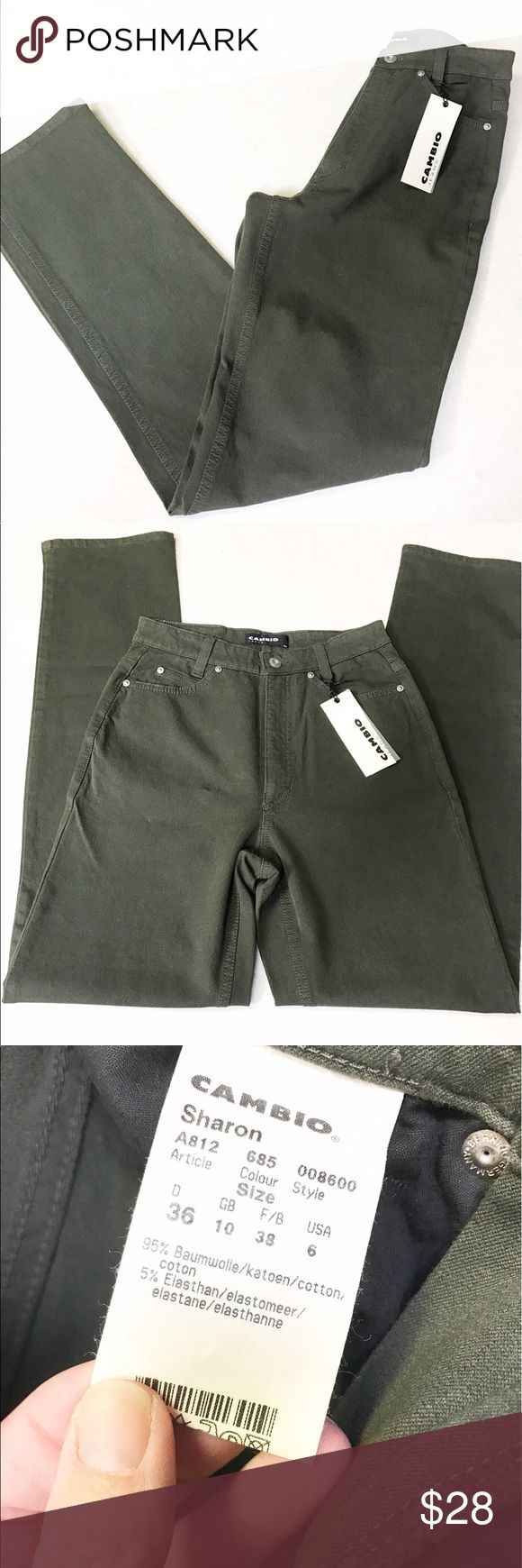 NWT. Cambio Jeans, size 6. Sharon cut, high waist NWT. Cambio Jeans size 6. Khaki green, in the high waisted (mom Jean) Sharon cut. Cambio Jeans Jeans