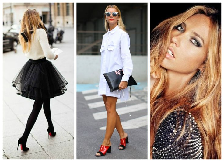 Find your own sense of style >>> http://bit.ly/1ENKONX Ballerina black skirt, white men's shirt, strawberry blonde long hair.