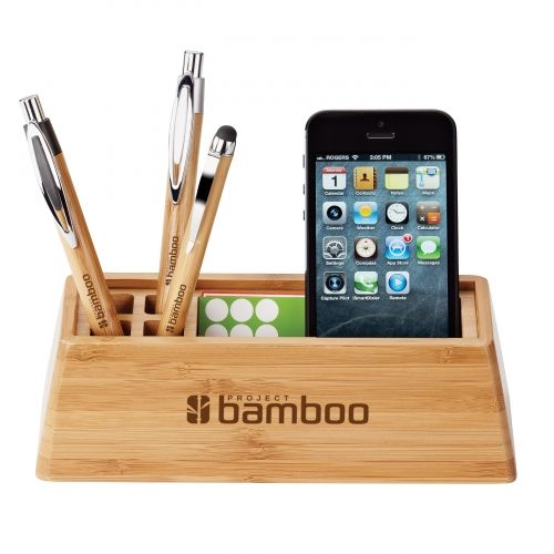 Bamboo desktop organizer holds writing instruments, smartphones, business cards, etc.