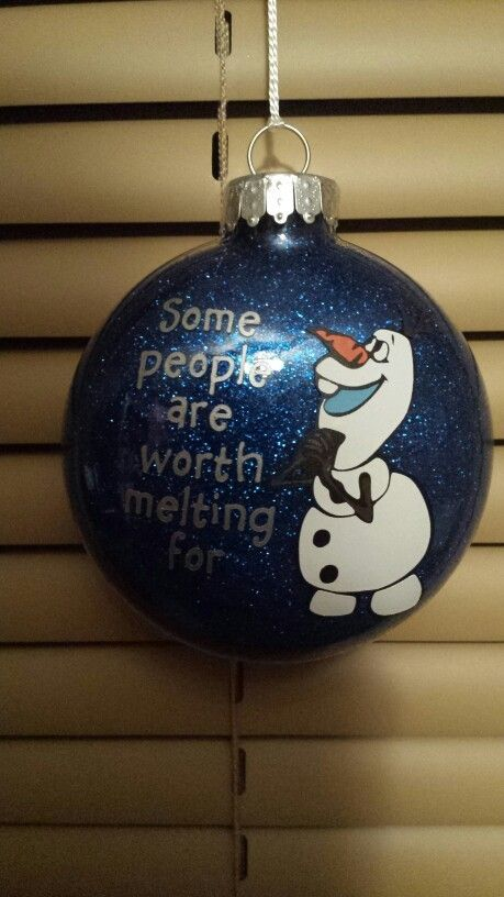 2014 Christmas Frozen Olaf hand painted glitter floating ornament - Christmas ball, hanging ornament