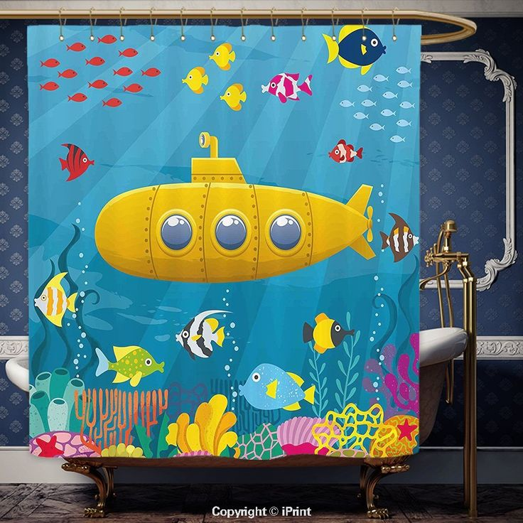 Amazon.com: iPrint 72x75 Inch Shower Curtain Yellow Submarine Coral Reef with Colorful Fish Ocean Life Marine Creatures Tropical Kids Decor Blue Yellow Pink Polyester Bathroom Accessories Home Decoration: Bedding & Bath