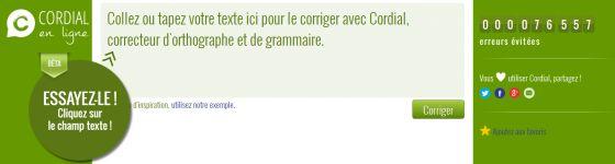 Cordial en ligne : Le meilleur correcteur d'orthographe et de grammaire gratuit.