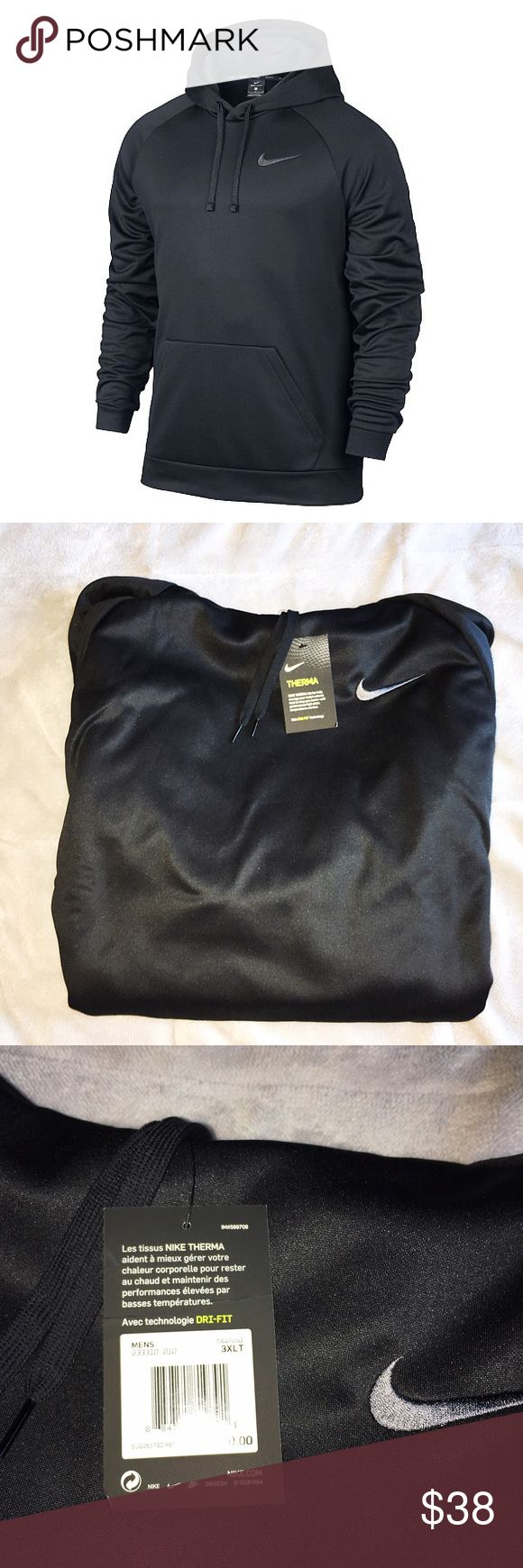 Men's NIKE Sweatshirt - 3XLT (NWT) Size 3XL big& tall fit. Men's. Black in color. Therma fit- dri fit. Hooded. Pullover. Front pocket. Front Nike logo. NWT- $50.00. Nike Shirts Sweatshirts & Hoodies