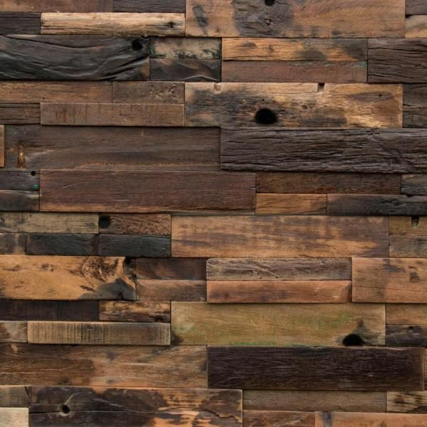 Realstone Systems Reclaimed Wood 1 2 In X 24 In X 12 In Dark Teak Wood Wall Panel 10 Box Rwp Drk The Home Depot Wood Panel Walls Wood Paneling Wall Paneling