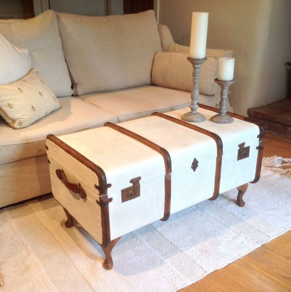 You don't always need to take a trunk traveling! Vintage Steamer Trunk Coffee Table by PaleImitations on etsy