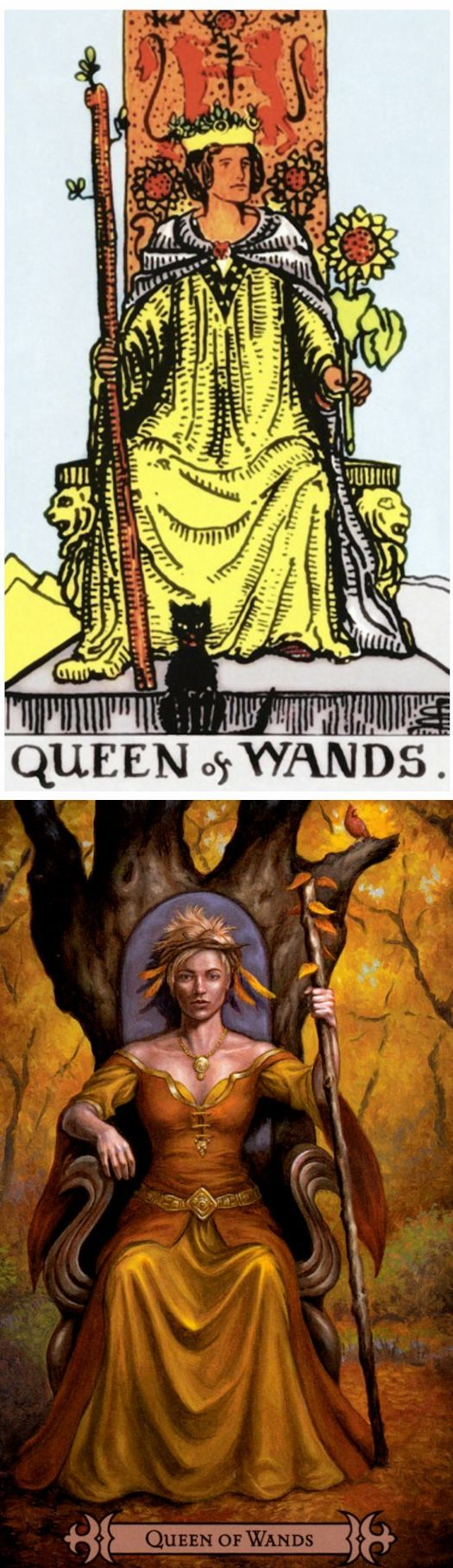 Queen of Wands: determined and jealous (reverse). Rider Tarot deck and Spellcasters Tarot deck: free physic reading, lotus tarot free online reading vs daily tarot free online. The best tarot art and spelljammer. #hierophant #paganism #spells