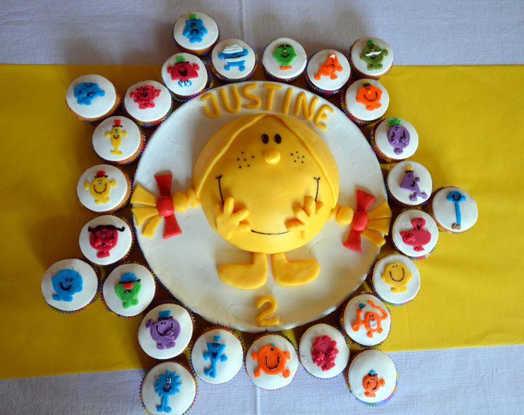 Little miss sunshine birthday cake ! Gâteau d'anniversaire Mme Bonheur Little miss and Mr men Mr et Mme
