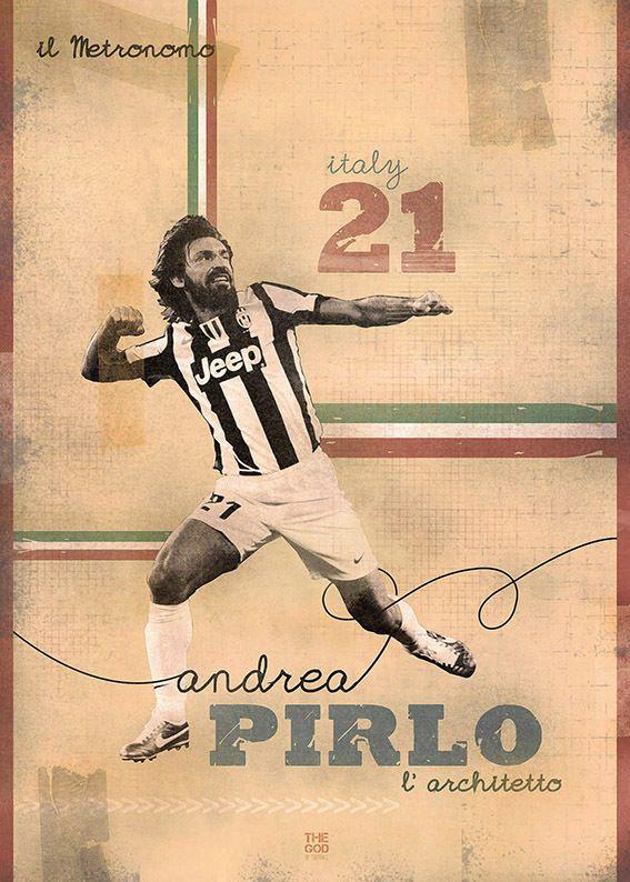 The Gods Of Football (Part I) by Marija Marković on Behance — Andrea Pirlo, #21, italy