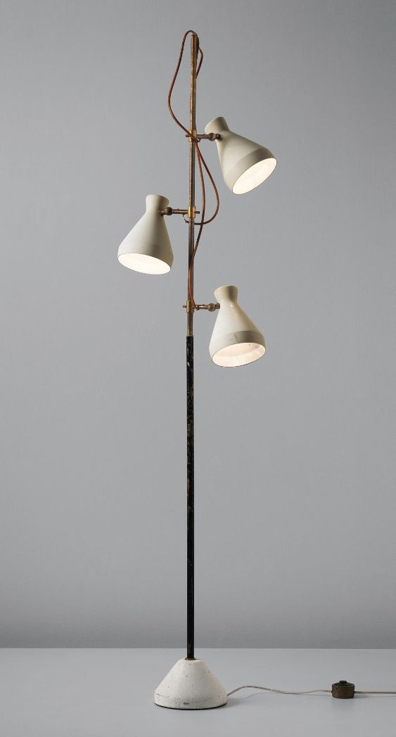 Gino Sarfatti; Enameled Metal and Brass Floor Lamp for Arteluce, c1951.