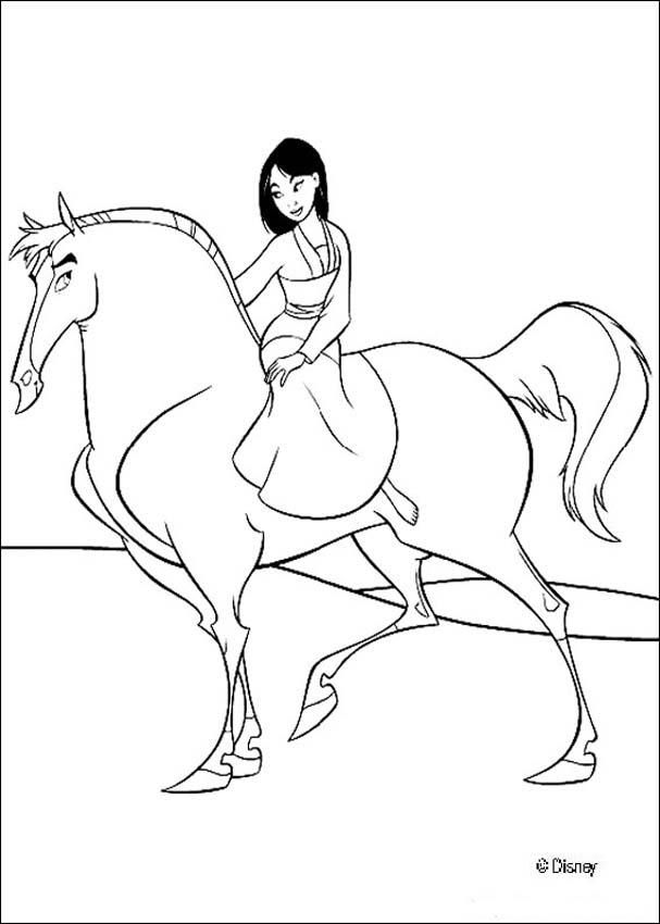Mulan And Her Handsome Black Stallion Coloring Page Do You Like Pages Can Print Out This