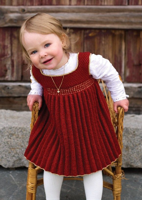 Dale Baby Book 270 at Kidsknits.com. This sweet, versatile dress was knit in Dale of Norway Baby Ull and Dale of Norway Gullfasan, also available through Kidsknits.com.