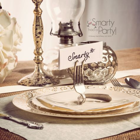 Bent fork place card holder by #SmartyHadAParty
