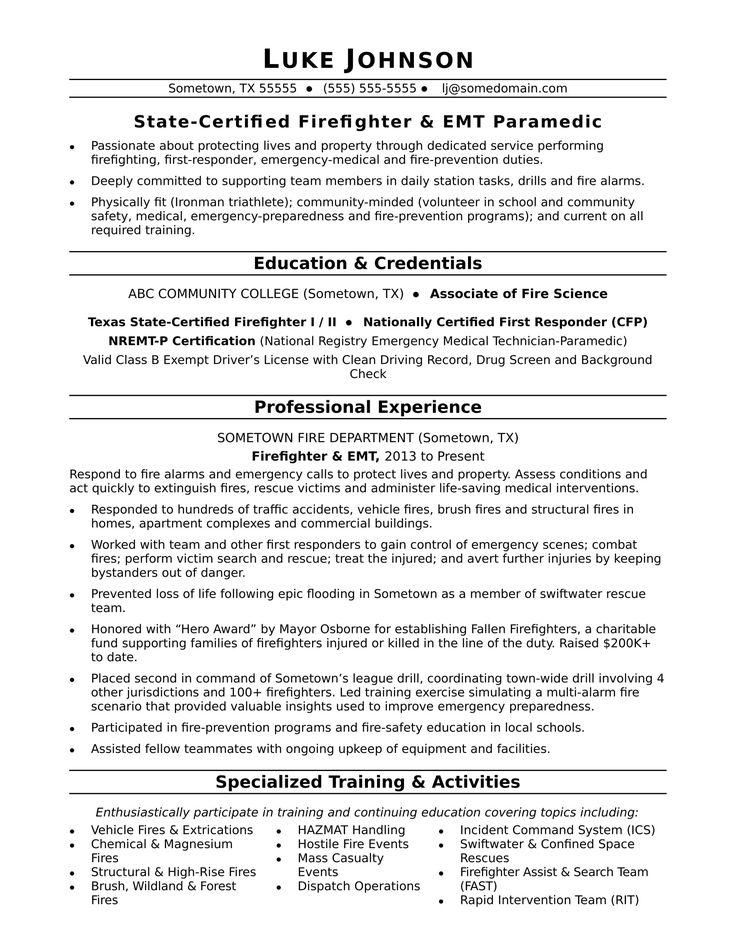 Image result for firefighter resume examples Firefighter