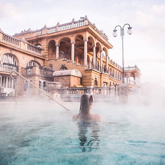 Széchenyi Thermal Bath, Budapest Dame Traveler @finduslost Budapest #dametraveler . . . . . . . . #picoftheday  #bestoftheday #instagood  #travelgram #travel #traveling #world  #earth #globe #worldwide  #instatravel  #tourist #tourism #vacation #trip #instagood  #travelblogger #blog #red #dress #love #followme #beautiful #photooftheday