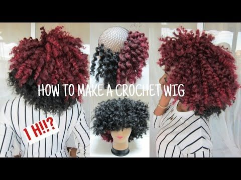 How to Make a CROCHET WIG / Two Tone Curly Afro wig - YouTube