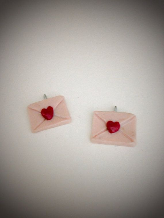 Kawaii Polymer Clay Love Letter Stud Earrings by ICameForTheCake, $5.00